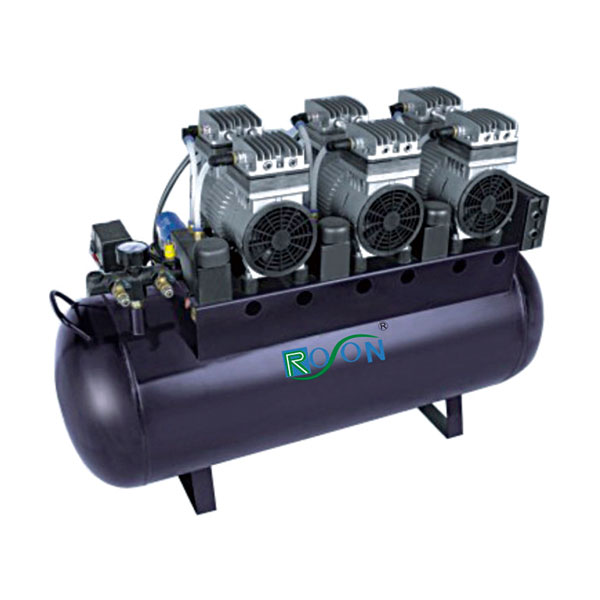Oil free air compressor, 90L can support 6 dental unit